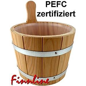 Weigand Saunakübel 5 Liter mit verzinkten Bandstahlreifen und Kunststoffeinsatz I Lärchenholz I Saunaeimer I Saunazubehör I Kübel Bandstahl Einsatz lose