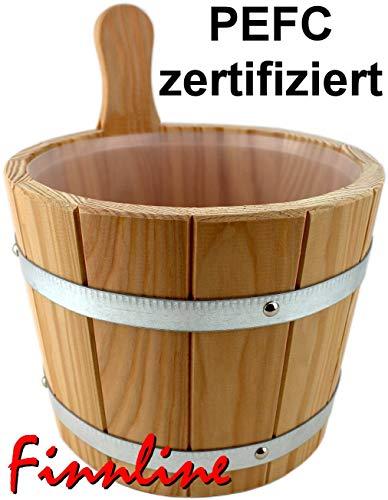 Weigand Saunakübel 5 Liter mit verzinkten Bandstahlreifen und Kunststoffeinsatz I PEFC...