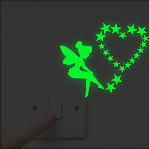 XQWZM Luminous Angel Fairy Star Switch Panel Stickers Glow In The Dark Home Decoration Kids Room Fluorescent Mural Wall Vinyl Decals