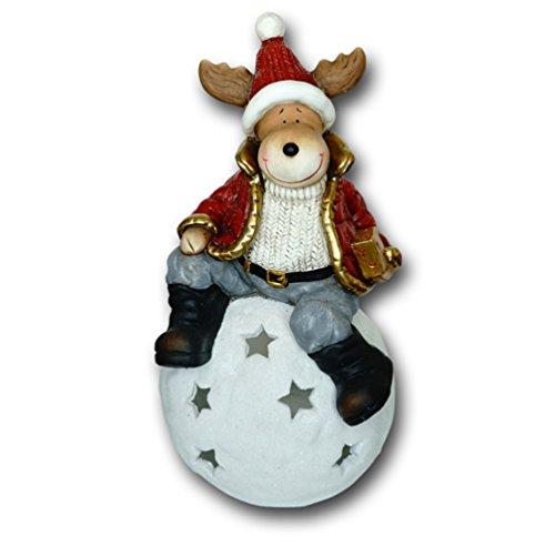 Elch auf Windlicht Kugel Hirsch REH Rentier Weihnachts Deko Tier Figur Artikel -
