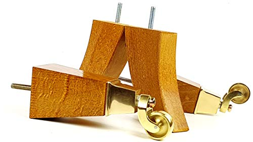 Knightsbrandnu2u 4x Massivholz Möbel Beine Ersatz Castor Füße für Sofas, Stühle, Sofas, Hockern-M8(8mm)-tsp2030_ br171, goldene Eiche, M8(8mm) -