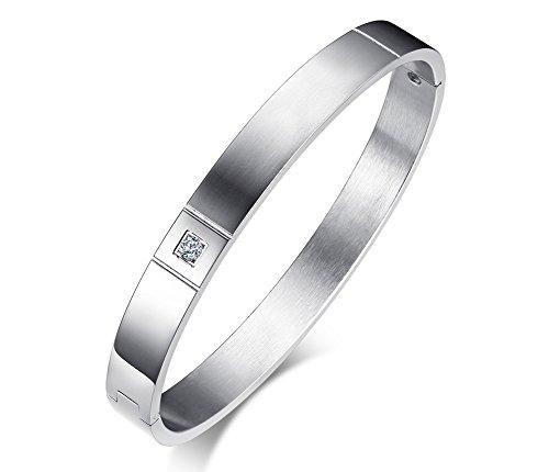 Vnox nome in acciaio inossidabile personalizzato opaco aaa + braccialetto di polsino con zirconi cubici per l'incisione personalizzata dell'uomo