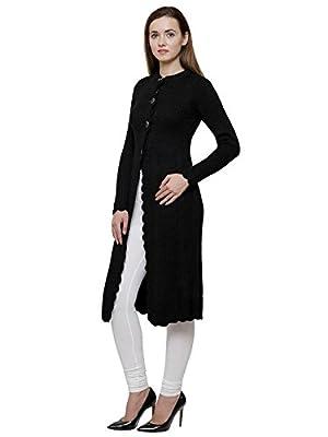 Matelco Black Woollen Long Shrug Style Cardigan for Women