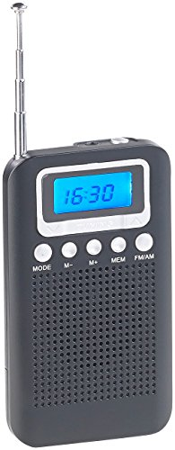 auvisio Taschenradios: UKW-/MW-Taschenradio mit LCD-Display, Wecker, Teleskop-Antenne (Camping-Radio)