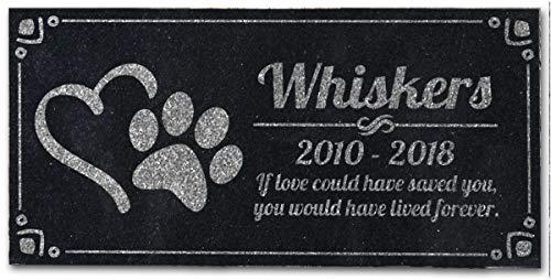 Pet Grave Marker Huella de perro personalizado corazón Pet headstones Absolute grabado personalizable negro y granito jardín placa grabada con nombre de gato de perro fechas