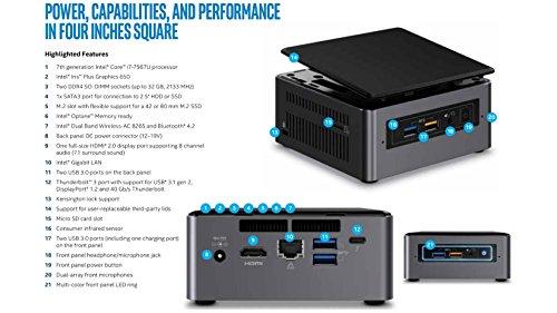 Intel Core I7 - 7th Generation Nuc Kit (boxnuc7i7bnhl + 16gb Ddr4 + 500gb Samsung Ssd) Fully Loaded Pc - Thunderbolt 3 Ready