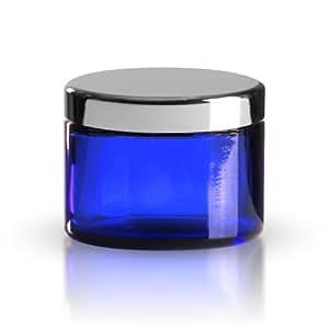 50x pots en verre bleu 50ml/Baume tiegel/crème pot en verre avec fermeture à vis Argenté