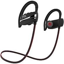 YXwin Auriculares Bluetooth Audifonos 4.1 Inalambricos Almohadillas Manos Libres Cancelación del Ruido Headphones para Deporte Negro