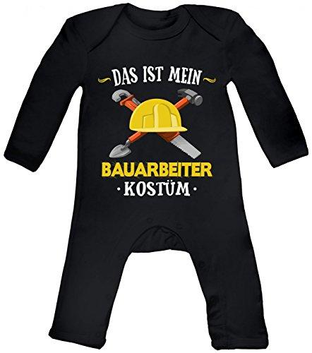 Shirt Happenz Kostüm Bauarbeiter Babybody Verkleidung Karneval Fasching Langarm Langärmliger Strampler, Farbe:Schwarz (Black BZ13);Größe:12-18 Monate