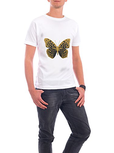 """Design T-Shirt Männer Continental Cotton """"Gold and Black Butterfly"""" - stylisches Shirt Tiere Abstrakt Natur Essen & Trinken Fashion Fiktion von Paper Pixel Print Weiß"""