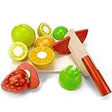 LISA & MAX Hochwertiges Holzobst Zum Schneiden für Kinder – Holz Zubehör für Kinderküche, Spielküche und Kaufladen – Lebensmittel Holzspielzeug mit Klett-Verbindung