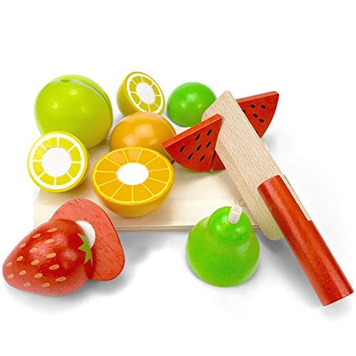 LISA & MAX Hochwertiges Holzobst Zum Schneiden für Kinder - Holz Zubehör für Kinderküche, Spielküche und Kaufladen - Lebensmittel Holzspielzeug mit Klett-Verbindung -