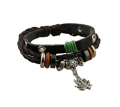Gudeke Hommes Alliage Feuille de Cannabis Marijuana Weed corde tressée en cuir Pendentif Bracelet