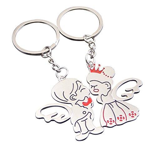 2x toruiwa portachiavi portachiavi holder creative angel coppia chiave ciondolo appeso ornamenti per auto portachiavi borsa telefono decorazione accessori artigianato regali san valentino 100mm