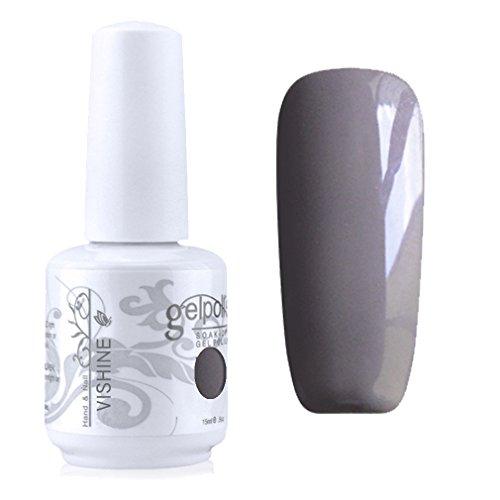 Vishine Vernis à ongles Semi-permanent Nail Polish UV LED Soak Off Gels Manucure gris clair (1587)