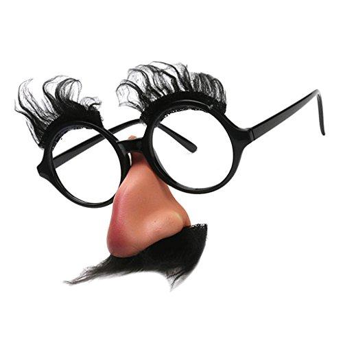 Homyl Brille mit Bart Nasen Augenbrauen Nasenbrille Schnurbart Brillen Spaßbrille Partybrille