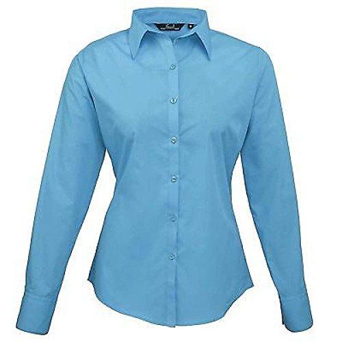 ZEARO Damen Bluse Business Hemd Weicher Kragen Lange Ärmel Shirt Größe 36 38 40 42 44 46 48 50 52 54 Türkis