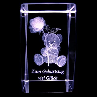 Kaltner Präsente Stimmungslicht 3D Laser Kristall Glasblock mit LED Beleuchtung Glückwunschkarte Geburtstagskarte ZUM GEBURTSTAG VIEL GLÜCK von Kaltner Präsente auf Lampenhans.de