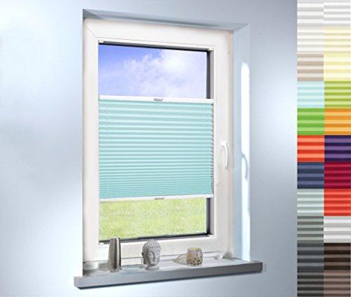 SUNWORLD Plissee nach Maß, hochqualitative Wertarbeit, für Fenster und Türen, alle Größen, Maßanfertigung, Jalousie, Faltrollo, (Farbe: Türkis, Höhe: 20-80cm, Breite: 20-50cm)