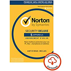 Norton Security Deluxe 2019 | 5 Appareils | 1 an | PC/Mac/iOS/Android | Téléchargement