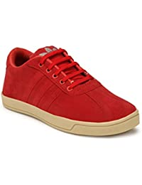 Falcon Suede Leather Round Toe Men's Shoes - Stylish PU Sole Red Color Casual Shoes For Men