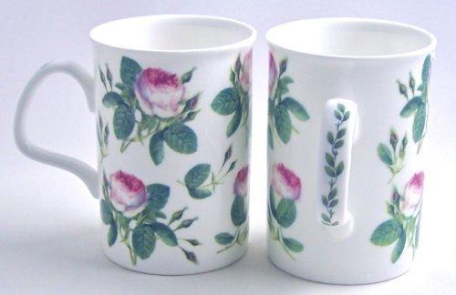 Pair Fine English Bone China Mugs - Redoute Rose Chintz