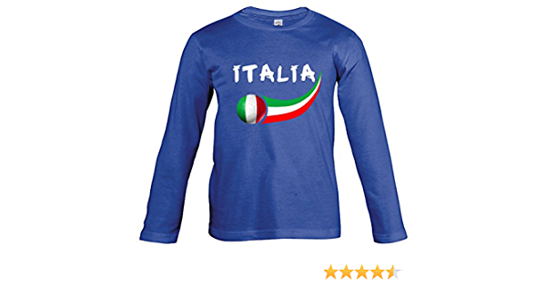 Supportershop Langarm Fu/ßball T-Shirt Italien blau Kinder