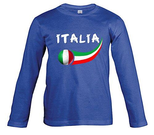 Supportershop Camiseta Fútbol Italia Royal L/S niño, T-shirt Italie royal L/S enfant, azul, 6 años (talla del fabricante: 6 ans)