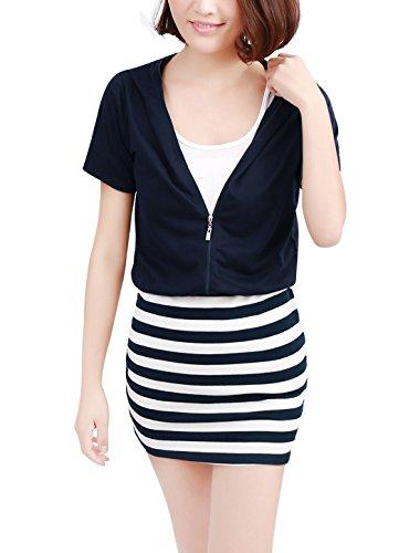 Allegra K Damen Kurzärmliges Kleid Reisverschluss Vorne Kleid Gestreiftes Kleid Kapuzen-kleid Blau - Marineblau