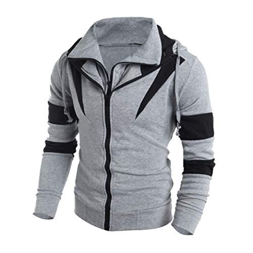 IMJONO Männer Retro Langarm-Kapuzenpullover mit Kapuze Sweatshirt Tops Jacke Mantel Outwear (EU-48/CN-XL,Grau)