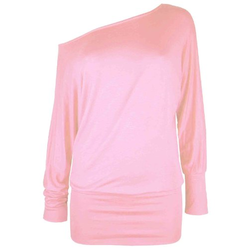 Damen Langärmlig Einmalig Schulter Top Womens Batwing T-shirt Pulli 36 38 40 42 Babyrosa