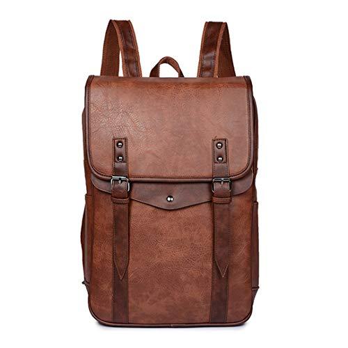 Mode Leder Männer Casual Rucksäcke Vintage Schulter Schultasche Daypacks Junge Koreanische Reise Laptop Taschen Brown (Indische Währung)