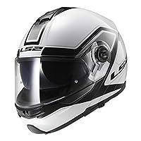 LS2 Motorcycle Helmets, White/Black, Size L