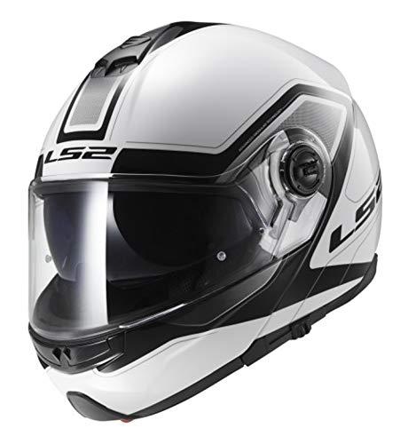 LS2 Casco Moto Ff325 Strobe Civik, Bianco/Nero, L