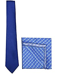 Chokore Cobalt Blue Linen Tie & Blue-White Printed Pocket Square Set