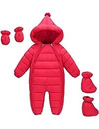 MissChild Traje de Nieve y Guantes Footies Bebé, Chaqueta con Capucha Cremallera Frontal Ropa de Invierno Infantil