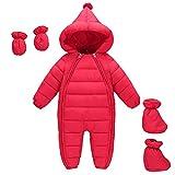 MissChild Schneeanzug Baby Jungen Mädchen, Daunenanzug Strampler mit Kapuze Quilted Pramsuit Outdoor Overall Winter Snowsuit Outfit Mantel Rot Label 80