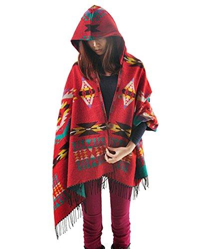 ZKOO Femme Tassel Poncho et Cape a Capuche Bohême Blanket Manteau Chaud Cachemire Châle Cardigans Couverture Automne H