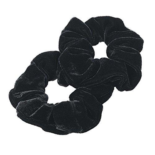 Neu Damen 3.5cm Zwei Stück Samt Schau Haar Elastics Hairbands Scrunchie Accessories Black (Pferdeschwanz 2 Inhaber)