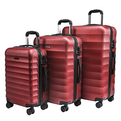 Carryone valigie set trolley bagaglio a mano con 4 rotelle girevole, valigia rigida e leggera da viaggio set da 3 pezzi 55cm, 64cm, 74cm(rosso)