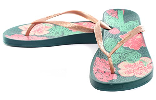 Ipanema Anat Temas Vi Fem, Tongs Femme Green/Rose Gold