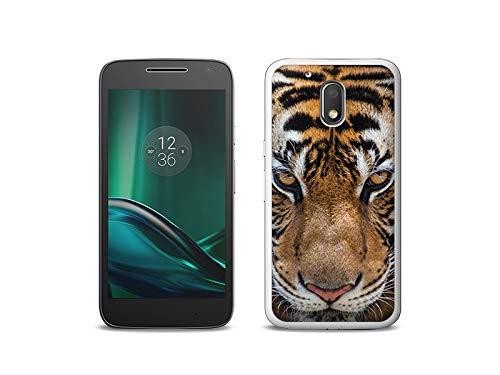 etuo Handyhülle für Lenovo Moto G4 Play - Hülle, Silikon, Gummi Schutzhülle - Blick von Tiger
