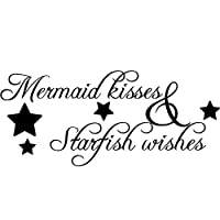 Vinyl Decals Mermaid Kisses Wall Sticker Starfish Wishes Wall Poster Home Decoration Bathroom Design Mermain Quote Decal 96x42cm