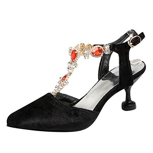 MissSaSa Femmes Escarpins Bout Pointue Chaussures Ouvertes à l'arrière Lanière en T Noir