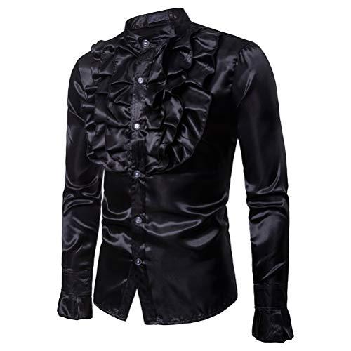 Männer Shiny Slim Button Down Rüschenhemd Dance Fancy Shirt Party Nachtclubs Kostüm Top (XL, Schwarz)