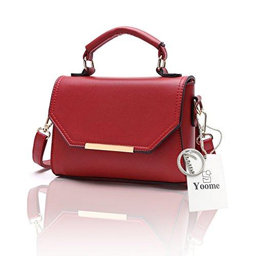 Borsa a tracolla pura di stile Yoome elegante Borse medio trasversale per donne Borsa da donna a polso Wristlet - Grigio Rosso