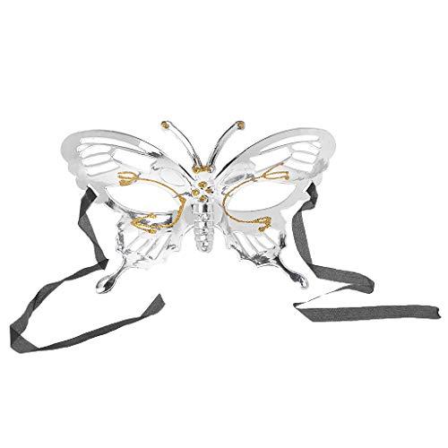 Lamdoo Damen Charm-Anhänger Schmetterling Gesichtsmaske Glitzer Maskerade Party Halloween Kostüm, Plastik, Silber, 18cm/ 7.09in