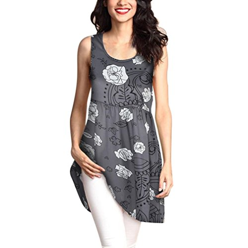 MRULIC Geschenk Zum Muttertag Womens Fashion Printed Tops Lose T-Shirt Lange Bluse (EU-42/CN-2XL, X-Grau) (Womens Cap Wahl T-shirt Sleeve)