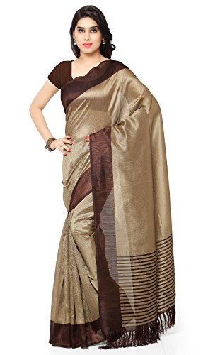 Rajnandini Women's Tussar Art Silk Saree (Joplnb3011B, Brown, Free Size)