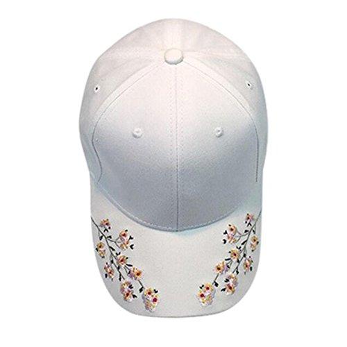 Baseball Cap, Tianya Frauen Blume Stickerei Baumwolle Baseball Kappen verstellbar Hip Hop gebogen Hüte, weiß (Mädchen Für Blumen-schwimmen-kappe)